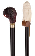 Decorative Arts, Continental:Other , TWO CARVED TROPICAL BIRD CANES. 35-3/4 inches overall length oflongest cane, ivory (90.8 cm). ...