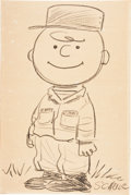 Original Comic Art:Sketches, Charles Schulz Charlie Brown in Military Fatigues Sketch Original Art (c. 1958)....