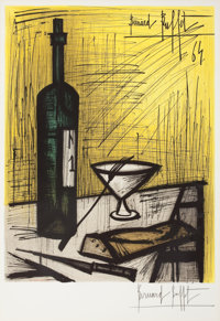 BERNARD BUFFET (French, 1928-1999) Wine and Bread, 1967 Color lithograph 22 x 17 inches (55.9 x