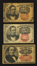 Fractional Currency:Fifth Issue, Three Fifth Issue Fractionals.. ... (Total: 3 notes)