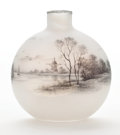 Art Glass:Daum, A DAUM FROSTED AND ENAMELED ART GLASS BOTTLE . Daum Frères, Nancy,France, circa 1900. Marks: etched Daum (cross of Lor...