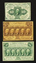Fractional Currency:First Issue, Fr. 1242 10¢, 1281 25¢ and 1312 50¢ First Issue Notes Extremely Fine.. ... (Total: 3 notes)