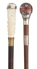 Decorative Arts, Continental:Other , IVORY COMPASS CANE AND CLOISONNÉ WATCH CANE. 35-7/8 inches overalllength of compass cane (91.1 cm), 35-1/2 inches overall... (Total:2 Items)