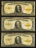 Large Size:Gold Certificates, Three Fr. 1173 $10 1922 Gold Certificates Very Good.. ... (Total: 3 notes)