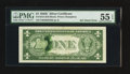 Error Notes:Ink Smears, Fr. 1614 $1 1935E Silver Certificate. PMG About Uncirculated 55EPQ.. ...