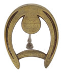 Paintings, MALCOLM S. FORBES COLLECTION: GOOD LUCK SOUVENIR HORSESHOE PRESENTED BY ROBERT FITZSIMMONS TO THOMAS LIPTON IN 1897 . 6 inc...