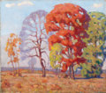 Texas:Early Texas Art - Regionalists, FRED DARGE (American, 1900-1978). Untitled (Autumn Trees),1929. Oil on canvas. 16 x 18 inches (40.6 x 45.7 cm). Signed ...