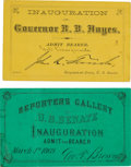 Political:Inaugural (1789-present), Ulysses S. Grant and Rutherford Hayes: Pair of Elusive Inauguration Tickets.... (Total: 2 Items)