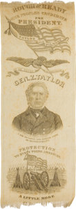 Political:Ribbons & Badges, Zachary Taylor: The Finest Taylor Campaign Ribbon from 1848....