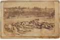 Military & Patriotic:Civil War, Very Rare Carte-de-Visite View of the Confederate Dead of the 2nd Texas Inf. Outside Battery Robinette, Corinth, Mississip...