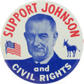 Political:Pinback Buttons (1896-present), Lyndon B. Johnson: Key Civil Rights Portrait Pin....