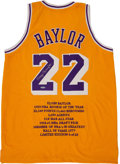 "Basketball Collectibles:Uniforms, Elgin Baylor Signed ""Upper Deck Authenticated"" Jersey...."