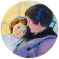 Fine Art - Painting, European:Modern  (1900 1949)  , BERNARD GUTMANN (German/American, 1869-1936). Mother andChild . Oil on canvas . 12 x 12-1/2 inches (30.5 x 31.8 cm)....
