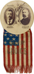 Political:Pinback Buttons (1896-present), Theodore Roosevelt: Oversized Real Photo Jugate....