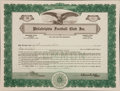 Football Collectibles:Others, 1935 Philadelphia Eagles Original Stock Certificate - Signed By Bert Bell. ...