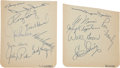Baseball Collectibles:Others, 1959 Los Angeles Dodgers Multi Signed Album Sheets (2)....