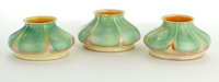 A SET OF THREE AMERICAN ART GLASS SHADES Attributed to Quezal Art Glass and Decorating Company, Queens, New York