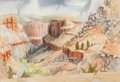 Texas:Early Texas Art - Modernists, BROR ALEXANDER UTTER (American, 1913-1993). Canyon, circa1950. Watercolor on paper. 17-1/4 x 25 inches (43.8 x 63.5 cm)...