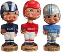 Football Collectibles:Others, 1968-72 Gold Base Football Nodders Lot of 3....