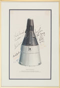"Autographs:Celebrities, ""Gemini Spacecraft"" Rare McDonnell Lithograph Signed by FourteenAstronauts Who Flew in Project Gemini, from the Collection of..."