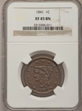 Large Cents: , 1841 1C XF45 NGC. NGC Census: (7/79). PCGS Population (7/51).Mintage: 1,597,367. Numismedia Wsl. Price for problem free NG...