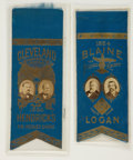 Political:Ribbons & Badges, Grover Cleveland and James Blaine: Matched Pair of 1884 Jugate Ribbons....