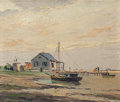 Texas:Early Texas Art - Regionalists, PAUL RICHARD SCHUMANN (American, 1876-1946). Fisherman's Cabins,Galveston Bay . Oil on board . 10 x 12 inches (25.4 x 3...