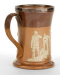 Ceramics & Porcelain, British:Modern  (1900 1949)  , A ROYAL DOULTON SALT GLAZED STONEWARE MUG WITH GOLF SCENE ANDSILVER PLATED RIM . Doulton & Co., Lambeth, England, circa19...