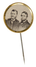 Political:Ferrotypes / Photo Badges (pre-1896), Grant & Colfax: Lovely Ferrotype Jugate....