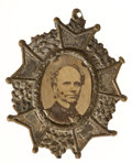 Political:Ferrotypes / Photo Badges (pre-1896), Horatio Seymour: Ornate Portrait Badge....