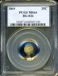 California Fractional Gold: , 1869 25C Liberty Round 25 Cents, BG-826, R.4, MS64 PCGS. PCGSPopulation (3/0). (#10687)...