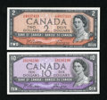 Canadian Currency: , BC-38a $2 1954. BC-40a $10 1954.. ... (Total: 2 notes)