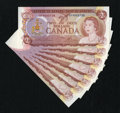 Canadian Currency: , 1974 Twos.. ... (Total: 7 notes)