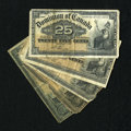 Canadian Currency: , 1900 25 Cent Notes.. ... (Total: 5 notes)