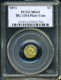 California Fractional Gold: , 1871 $1 Liberty Round 1 Dollar, BG-1204, High R.5, MS63 PCGS. ...