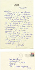 "Autographs:Celebrities, John Glenn Autograph Letter Signed ""John,"" one page, 7.25"" x10.25"". Columbus, Ohio, December 13, 1970. To Joe Garino wi...(Total: 1 Item)"