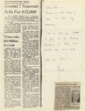 """Autographs:Celebrities, Neil Armstrong Autograph Letter Signed """"Neil,"""" on right half of photocopy of article, one page, 8.5"""" x 11"""". The AP artic... (Total: 1 Item)"""