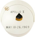 "Autographs:Celebrities, Apollo 10 Flown Heat Shield Segment, triangular 1.75"" high, encasedin a clear 3"" high by 2.5"" diameter Lucite cylinder engr... (Total:1 Item)"