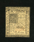 Colonial Notes:Delaware, Delaware January 1, 1776 5s Choice New. Three bold signatures andno signs of circulation accompany this note. A pre-printin...