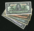 Canadian Currency: , Four Canadian 1937 Notes.. ... (Total: 4 notes)