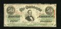 Confederate Notes:1863 Issues, T57 $50 1863. Several nicks are found along the top edge. Fine....