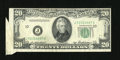 Error Notes:Foldovers, Fr. 2061-J $20 1950B Federal Reserve Note. Extremely Fine-AboutUncirculated.. A foldover caused this $20 to sport a cutting...