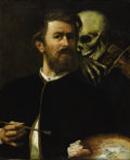 Fine Art - Painting, European:Antique  (Pre 1900), After Arnold Bocklin (1827-1901). Self-portrait with Death playing the fiddle. Oil on canvas laid down on panel. 23-1/...