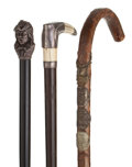 Decorative Arts, Continental:Other , GROUP OF THREE GENTLEMAN'S CANES . 36 inches overall length of thelongest cane (91.4 cm). ... (Total: 3 Items)