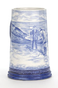 Ceramics & Porcelain, British:Modern  (1900 1949)  , A ROYAL BONN BLUE GOLF THEMED TRANSFER PRINTED TANKARD . Bonn,Germany, circa 1900. Marks: Royal Bonn Delft . 6-1/4 inch...