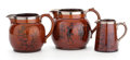 Ceramics & Porcelain, British:Modern  (1900 1949)  , A GROUP OF THREE ATHLO WARE GOLF THEMED JUGS WITH LUSTER RIMS .MAKER, Price Brothers, Burslem, Staffordshire, England, circ...(Total: 3 Items)