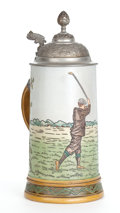 Ceramics & Porcelain, GERMAN GOLF THEMED STEIN WITH PEWTER LID . circa 1900. Marks: HR (conjoined), GERMANY, 1001, K, 2L. 9-1/4 inches hig...