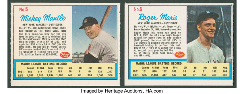 1962 Post Cereal Life Magazine Mickey Mantle Roger Maris Lot