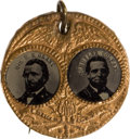 Political:Ferrotypes / Photo Badges (pre-1896), Ulysses S. Grant: Glitzy Jugate....