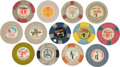 Miscellaneous:Gaming Chips, Casino Chips: A Selection of Thirteen Vintage $1 Chips from VariousLas Vegas Casinos,...